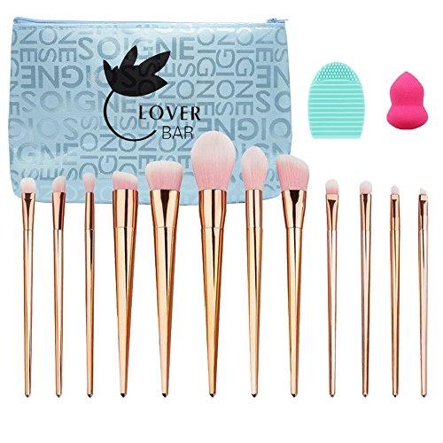 Lover Bar 12 Pinceaux de maquillage professionnel set-luxury visage Poudre Contour brush-beauty cosmétiques Outils extrêmement souple Fond de teint correcteur Kabuki brush-makeup Pro Brosse Kits avec étui de voyage