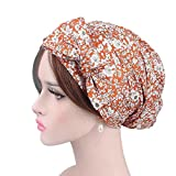 Womens Cotton Hat- Diadia Ladies India Muslim Stretch Retro Print Cotton Turban Hat Head Scarf Wrap Cap - Mothers Days Gifts for Mum (E)