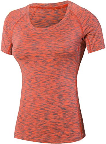 Jeansian Femme Casual T-shirts et Tops de Sport aptitude T-Shirt Women Fashion Fitness Sport Elastic Quick-Drying T-Shirt Tops SMF004 Orange