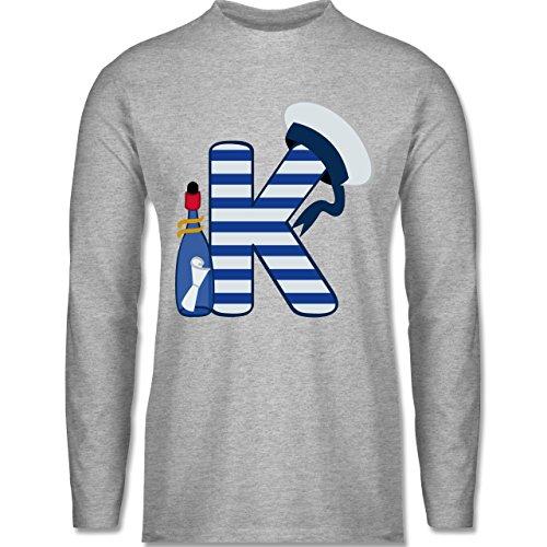 Shirtracer Anfangsbuchstaben - K Schifffahrt - Herren Langarmshirt Grau  Meliert. Das langärmelige Shirt ...