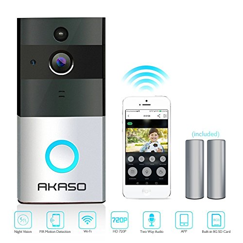 AKASO Video Doorbell, Smart Doorbell 720P HD WiFi Security Camera with 8G Memory Storage, Real-Time Two-Way Talk and Video, Night Vision, PIR Motion Detection and App Control for iOS and Android