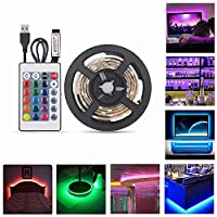TV Backlighting LED Light Strip Kit with Remote Control USB Multi-Color 2M 60 LEDs 5050 RGB Waterproof Bias Lights for Kitchen Home Theater Laptop PC Monitor