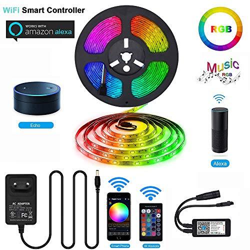 Alexa LED Streifen Licht RGB - ELINKUME WiFi Wireless 5M 5050 150LEDs Intelligent Musik Seil Lichter mit 3 Kontrollmethoden (Amazon Alexa + APP + Fernbedienung)