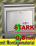 BTV Stabiler Briefkasten, EDELSTAHL MIT EXTRA ROSTSCHUTZLACKIERUNG Modell Runddach klassisch in Edelstahl stabil modern