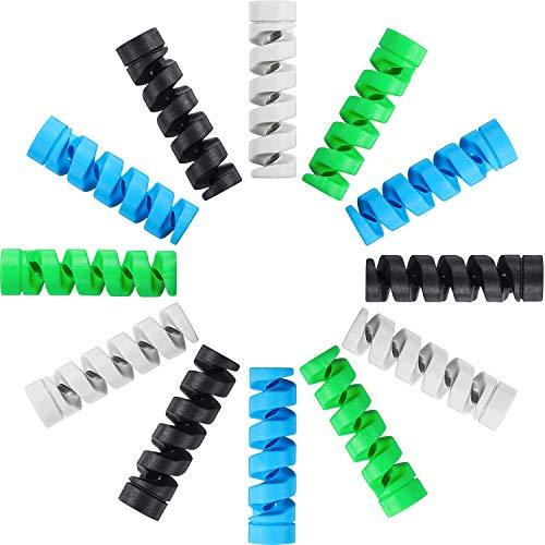 12 Stück Typ C Ladegerät Kabelschoner, Flexibler Silikon Micro USB Schutz, Maus Kabelschutz, Anzug für alle Handys (12 Stück, Schwarz, Grau, Blau, Grün) -