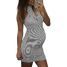 VECDY Vestidos Premama Verano, Moda para Mujer Embarazadas Bebé Lactante para Maternidad Raya Mini Vestido