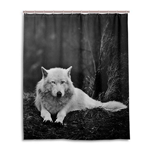 Bad Vorhang für die Dusche 152,4x 182,9cm, Wald Lone Wolf, Polyester-Schimmelfest-Badezimmer Vorhang (Stoff Checker)