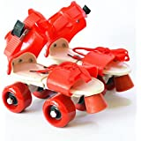 FunBlast Adjustable Quad Roller Skates for Kids (Red)