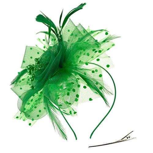DRESHOW Fascinators Hut Blume Mesh Bänder Federn auf einem Stirnband und einem geteilten Clip Cocktail Tea Party Headwear für Mädchen und Frauen,Grun,Einheitsgröße