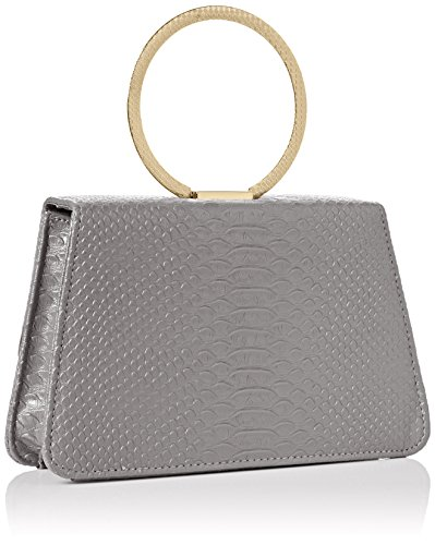 SwankySwans Damen Piper Snakeskin Pu Leather Clutch Bags D Grey Tasche Grau (Anthrazit)