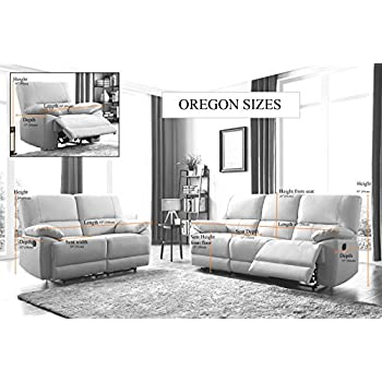 SC Furniture Ltd Grey High Grade Leather Manual Reclining 3 Seater Sofa + 2 Leather Manual Recliner Armchairs Suite OREGON