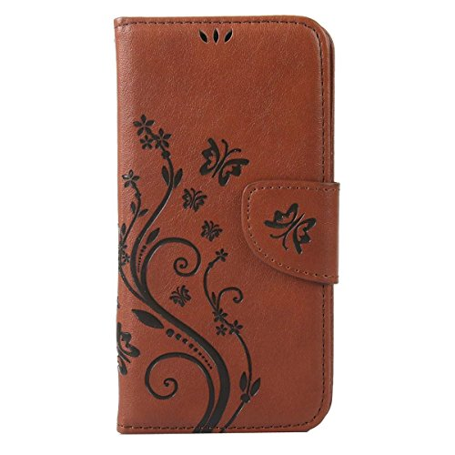 iPhone 5S Hülle Case,iPhone SE Hülle Case,Gift_Source [Card Slot] Luxury Magnetic Closure PU Leder Flower Butterfly Embossed Brieftasche Hülle Case Folio Flip Hülle Case Mit Strap für Apple iPhone SE/ E01-04-Dark Brown
