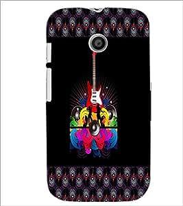 PrintDhaba Guitar D-4607 Back Case Cover for MOTOROLA MOTO E (Multi-Coloured)