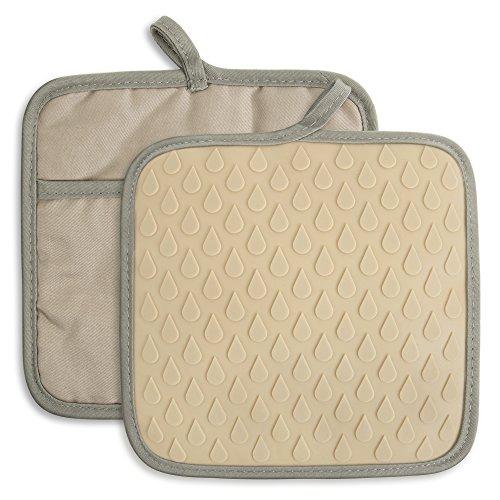 tophome Mehrzweck quadratisch Ofenhandschuhe Grillen Handschuhe Silikon rutschfeste Trocknen, Silikon Küchenhandschuh hitzebeständig Hot Pads insulationwaterproof khaki Hot-pad