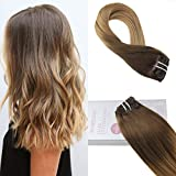 Moresoo 18 Zoll Glatt #T4/27 Chocolate Brown to Caramel Blond Brasilianische Haarverlängerung Double Weft Clip in Extensions Tressen Echthaar 120 Gramm 7 Pieces 100% Remy Echthaar Extensions