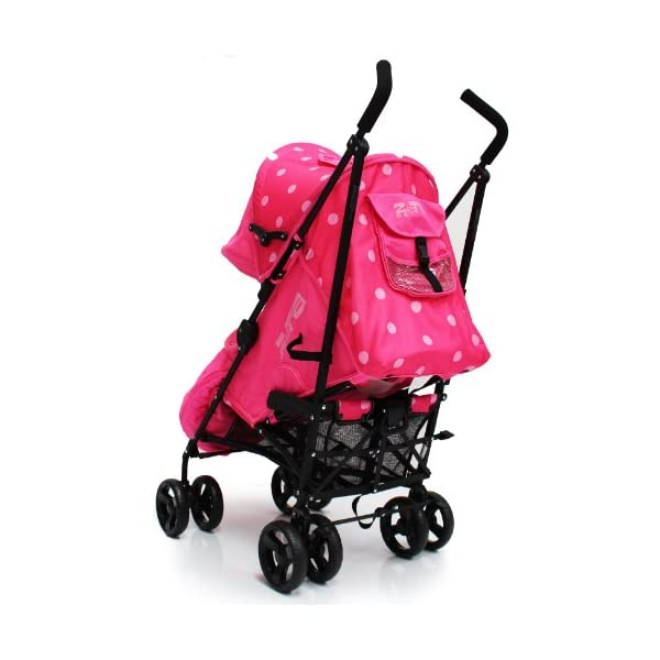 Zeta VOOOM Raspberry (DOTS) + FOOTMUFF + Changing Bag (Includes Changing Mat) + RAINOCVER MELLO ZETA Vooom - Raspberry Dots + Changing Bag + Footmuff + Ranicover Suitable from birth, amazing quality rated 5 star by 1000's of parents like you Amazing features, LARGE drop down shade hood, LARGE parent window, LARGE pocket/storage at the back of the hood, GOOD size shopping basket, AMAZING seat unit suitable from birth, NICELY padded with high quality fabrics! (Unlike our UK competitors that have extremely cheap fabrics on their product, please compare the ZETA Vooom closely with Maclaren Quest and other UK brands) 4