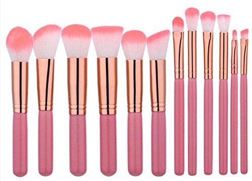 Vi.yo 12 Pcs Ensemble de Brosses Makeup Premium Cosmetics Foundation Blush Kit de Brosse à Poudre(Rosa)