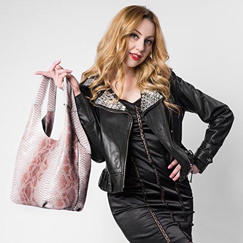 Realer Designer donne Totes grande capacità Borse del cuoio genuino con il modello Serpentine Marrone