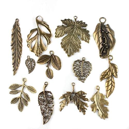 24 stk. Gemischte Blatt-Charme Antique Bronze-Legierungs-Anhänger (Kleine Anhänger)