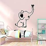 BFMBCH Adesivi murali cuore piccolo elefante carino Adesivi murali in vinile Carta da parati per bambini Carta da parati Decorazione della casa Adesivi murali carino Oro L 42 cm x 49 cm
