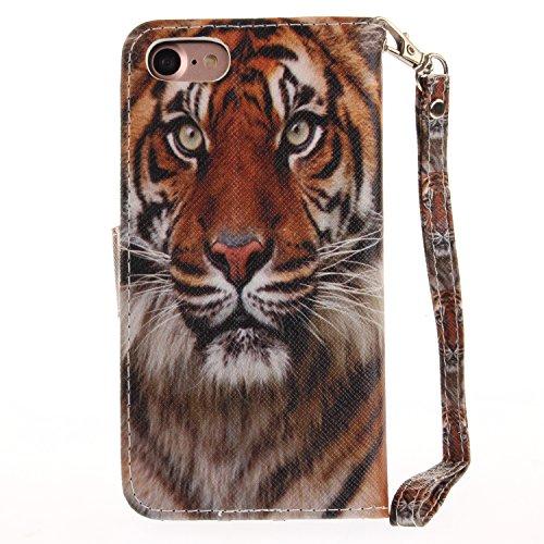 PU für Apple iPhone 7 (4.7 Zoll) Hülle Case Tiere Landschaft Hülle für-Apple iPhone 7 (4.7 Zoll) Leder Handyhülle Brieftasche Book Type PU Leder +TPU Innere Tasche Bunt Gemalt Magnetverschluss Lederta 1