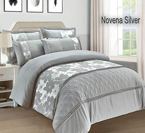Ensemble de literie - 7 couvre-lits et 4 housses - Novena, 4P Silver/Grey, Double