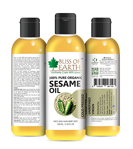 Bliss of Earth™ 100% Organic Sesame Oil 100ML. Coldpressed & Unrefined