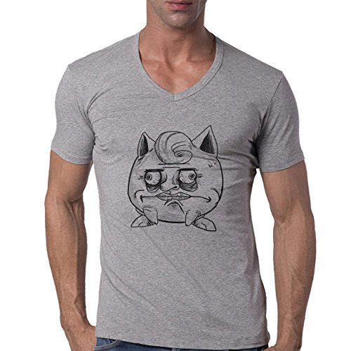 Pokemon Meowth Persian Normal Me Gusta Herren V-Neck T-Shirt Grau