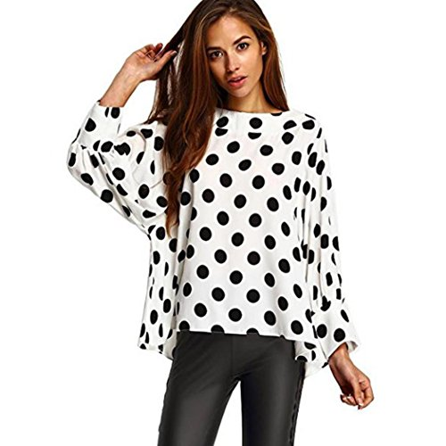 Kanpola Blusen Damen O-Hals Mit Tupfen Locker Chiffon Langarm Shirt Tops (L, Weiß) (Lauren Langarm Shirt Ralph Kleid)
