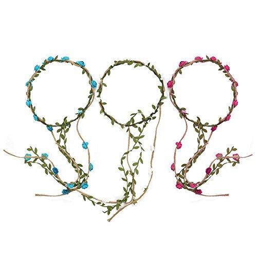 Shintop 3 Stück Haarreif mit Rosen, Süße Gestecke aus Blumen für Hochzeiten, Feste, Foto-Shoots (Rosa+Blau+Weiß)