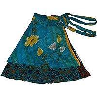 Wevez sari Reversible para mujer, seda, falda