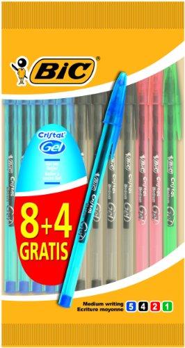 BiC – Bolígrafos (tinta de gel, colores surtidos, 12 unidades)