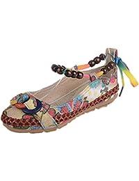 ZARLLE Sandalias Bohemias, Zapatos Planos CóModos Mujer Primavera Verano Bohemia Sandalias Zapatos Planos De Playa Calzado Casual De SeñOras Zapatillas Sneakers