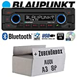 Audi A3 8P passiv - Autoradio Radio Blaupunkt Doha - Bluetooth CD MP3 USB - Einbauzubehör - Einbauset