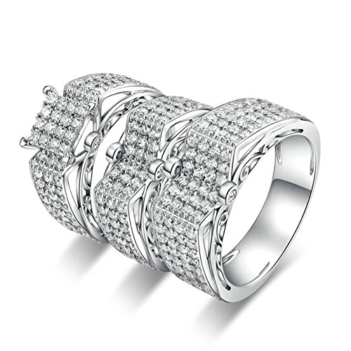 Knbob anello argento brillanti anello a forma di anello rotondo con cubic zirconia bianco brillante rotondo anello argento zirconi donna anelli fidanzamento argento dimensione