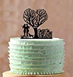 Mrs et Mrs pour gâteau de mariage Mrs Mrs Silhouette Couple avec chien même sexe lesbien Unique Décorations pour gâteau de mariage cadeau de mariage