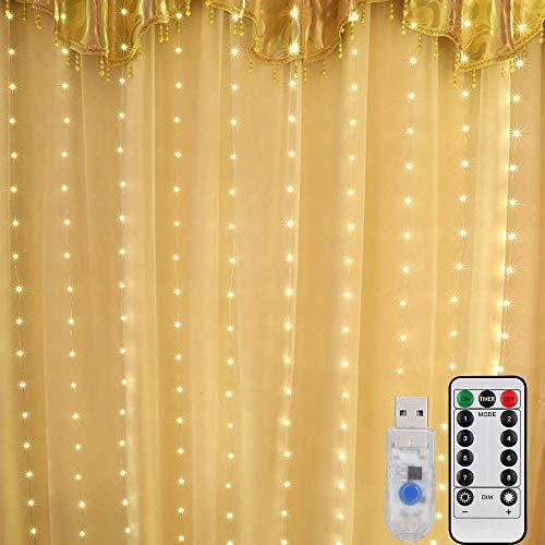 Mitening tenda luminosa, 300 leds tenda di luci 3 x 3m telecomando 8 modalità di illuminazione impermeabile stringa luce catena per decorare interni e esterni salotto natale matrimonio (bianco caldo)