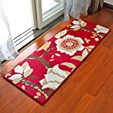 KYDJ Teppich Europäischen mat Matratze Tür Eingang Küche lange Fuß Pad von Tür zu Tür zum Badezimmer Badezimmer anti-absorbierenden Skid Pad (Farbe: Laubbäume - Rot, Größe: 45*120cm)