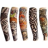 Mangas del brazo del tatuaje para niños, ANGTUO 5 PCS manga del brazo de protección UV al aire libre Manopla del tatuaje elástico temporal de nylon elástico para niños y niñas