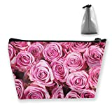 Pink Rose Women Cosmetic Bags Portable Pouch Trapezoidal Storage Bag Travel Bag with Zipper