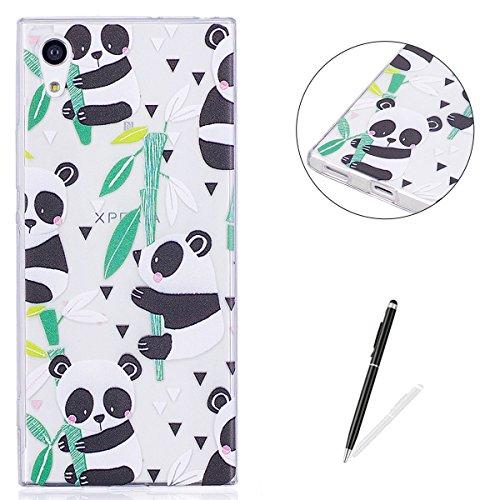 KaseHom Case for(Sony Xperia XA1) Cas de TPU Clair Cristal[Gratuit Stylet Tactile] Conception drôle d'anime Ultra Mince Doux Couvercle de Pare-Choc en Caoutchouc-Panda en Bambou