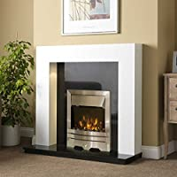 Electric White Surround Black Silver Steel LED Flame Fire Wall Free Standing Fireplace Suite Large 54""
