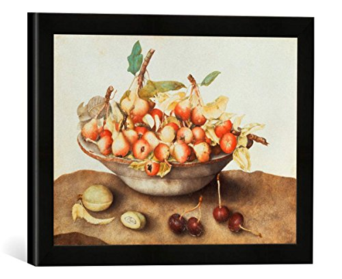 Gerahmtes Bild von Giovanna Garzoni Schale mit kleinen Birnen, Kirschen und Einer Mandel, Kunstdruck im hochwertigen handgefertigten Bilder-Rahmen, 40x30 cm, Schwarz matt - Garzoni Schale