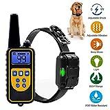 CHANG Wiederaufladbare Erziehungshalsband, 800M Remote Vibra Trainer Advance, Wasserdicht mit LCD-Display Hundehalsband