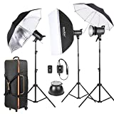 Godox SK300-D Kit di 3 *300WS Studio Strobe Flash Photo Luce+ 3 * Basamento della Luce+1 * Softbox+1* Riflettore Ombrello+1 * Morbida Ombrello+1 * Flash Trigger+2 * Paralume+1 * Sacchetto di Trasporto