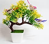 #1: Hyperboles Artificial Plants With Hanging Birds Guest Greeting Pine Bonsai Home Decoration