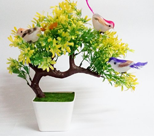 Hyperboles Artificial Plants With Hanging Birds Guest Greeting Pine Bonsai Home Decoration