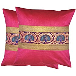 Durable Dupian Silk Embroidery plain printed Decorative Square Throw Pillow Cover Cushion Case Sofa Chair car Seat Pillowcase 16 X 16 Inches 40cm x 40cm set of 2