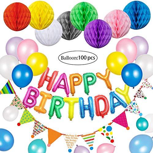 Geburtstag Dekoration Ballons Happy Birthday Girlande Deko Wabenbälle Wimpelkette Banner für Kinder Mädchen und Jungen Jeden Alters, 100 pcs Bunt Ballons