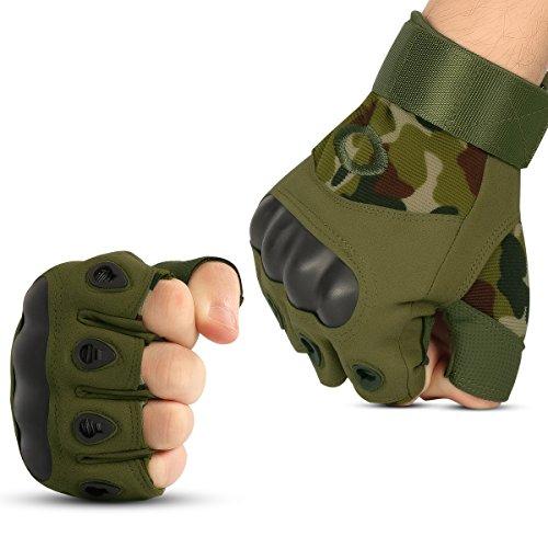 Xidan Taktische Fingerlose Handschuhe Militär Hard Knuckle Half Finger Handschuhe, Camo, M Camo Handschuhe